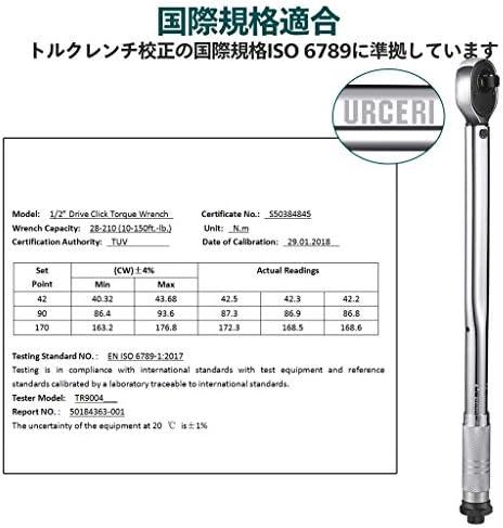 [スポンサー プロダクト]URCERI トルクレンチセット プレセット型 ソケットレンチ 差込角12.7mm 1/2インチ 28-210N 高精度 車 バイク修理レンチ 17mm 19mm ソケット 収納ケース付き 1年の保証期間