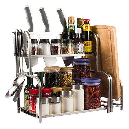Yummy Sam Spice Rack, Spice Holder with Cutting Board Lid Rack Shelf and Knife Block, A Cutting Board Rack is (Spice Board)