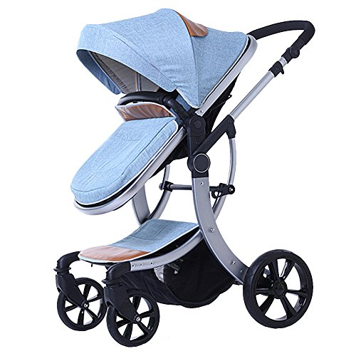 Binglinghua 3 in 1 Newborn Baby Stroller for Infant and Toddler Folding Convertible Baby Carriage Luxury High View Anti-shock Infant Pram Stroller Rubber Wheels (Cowboy Blue) by Binglinghua®