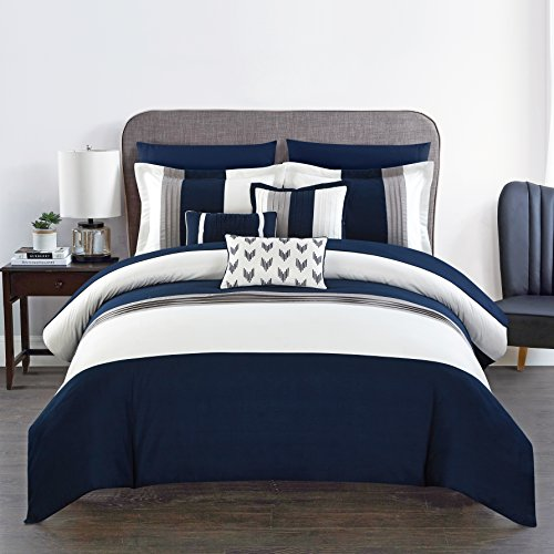 Chic Home Ayelet 10 Piece Comforter Set Color Block Ruffled Bag Bedding, Queen, Navy (Navy Blue Bed In A Bag Queen)