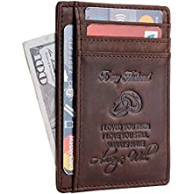NapaWalli Wife To Husband Gift Best Anniversary Birthday Gifts For Him Genuine Leather RFID Blocking slim Wallet Card Holder