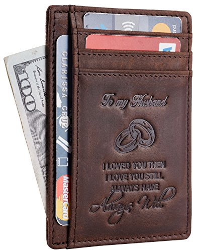 NapaWalli Wife To Husband Father Mother to Son Gift Best Anniversary Christmas Birthday Gifts Slim Wallet (Wife to Husband Hunter Coffee)