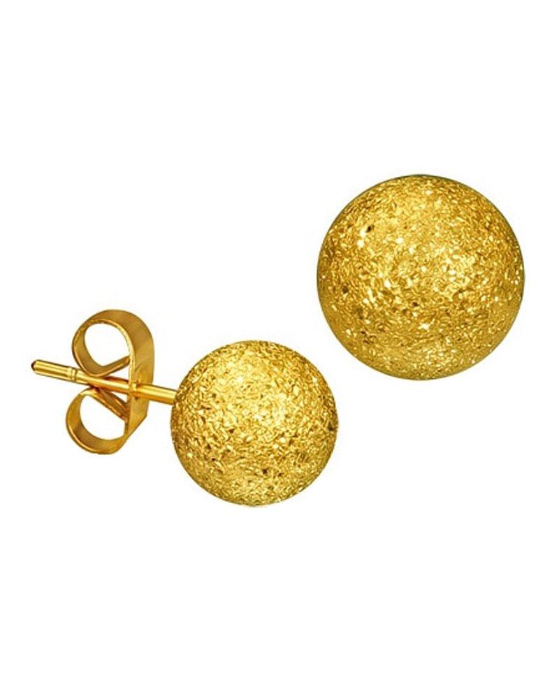 Gold-tone Stainless Steel Stardust Sandblasted Bead Ball Stud Earrings 6mm