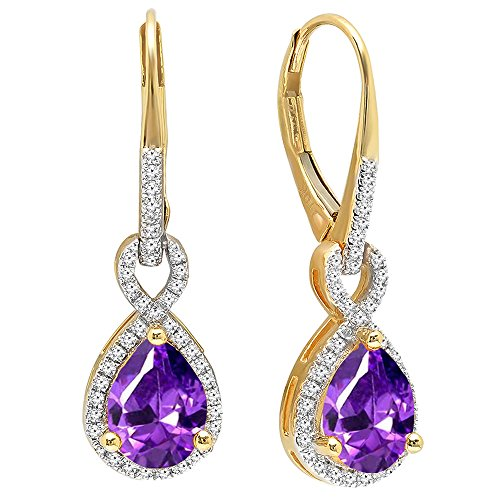 Dazzlingrock Collection 10K 8X6 MM Each Pear Amethyst & Round White Diamond Infinity Dangling Earrings, Yellow Gold