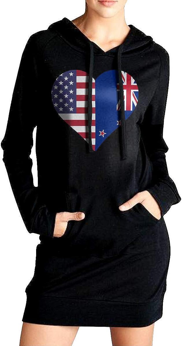 Half New Zealand Flag Half USA Flag Love Heart Coat with Kanga Pocket Womens Slim Fit Sweatshirt Long Hoodie Dress