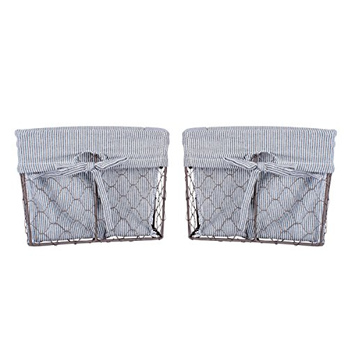 DII Home Traditions Vintage Metal Chicken Wire Storage Basket with Removable Fabric Liner, Set of 2 Medium Sized, Ticking White and Black Denim Striped (Lined Cotton Denim)