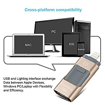 Usb Flash Drives For Iphone 32 Gb 3.0 Pen-drive Memory Storage 3 In 1, Hmfire Otg Jump Drive Lightning Memory Stick External Storage, Usb 3.0 Flash Drives For Apple Ios Android Computers (Gold) 5