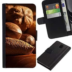 JackGot ( Nueces ) Samsung Galaxy Note 3 III la tarjeta de Crédito Slots PU Funda de cuero Monedero caso cubierta de piel