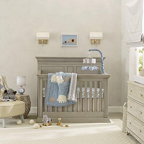 Lambs & Ivy Elephant Tales 6-Piece Crib Bedding Set - Blue/Grey/Cream [並行輸入品]   B07J9JYYVN