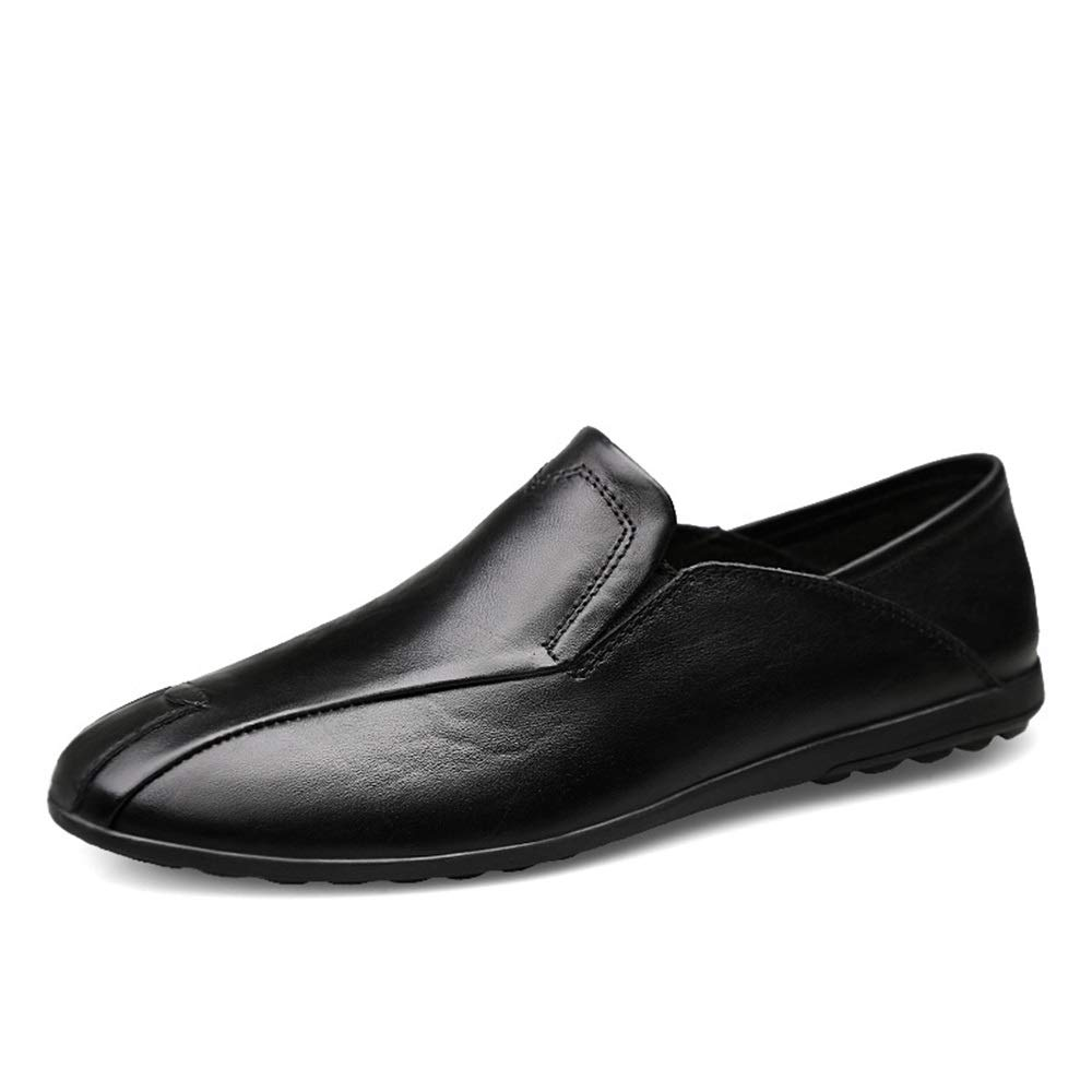 Man Business Driving Loafer Casual OX Leather Soft Sole Solid color Big Size Slip On Leisure Boat Moccasins (color   Black, Size   8 UK)