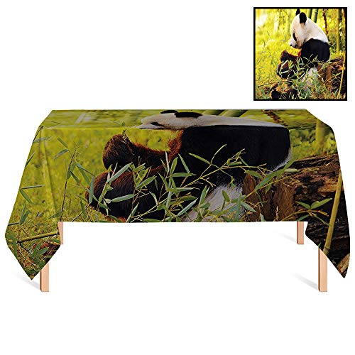 SATVSHOP Rectangle Tablecloths /60x120 Rectangular,Animal Big Panda Sitting in Forest Eating Bamboo Tree Trunk Foliage Wilderness Green Black.for ()