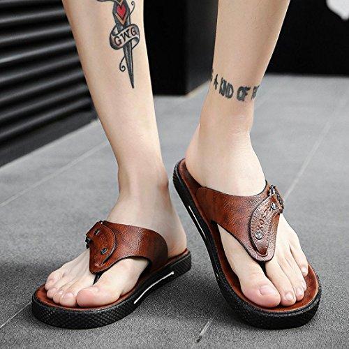 HUHU833 Men Summer Leisure Slippers Flip-Flops Comfortable Footwear Soft Sandal Khaki dTTXP5e
