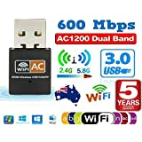 Dual Band 600Mbps USB WiFi Wireless Dongle AC600 LAN Network Adapter 2.4Hz 5GHz