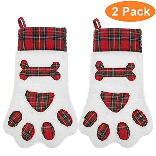 2 Pack Christmas Paw Stockings 18″ Plaid Red Dog Bone Gifts Bags Accessories