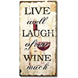 "Adeco Decorative Wood Wall Hanging Sign Plaque ""Live Well, Laugh Often, Wine Much"" Off White Black Home Decor - 17.8x8.9 Inches"