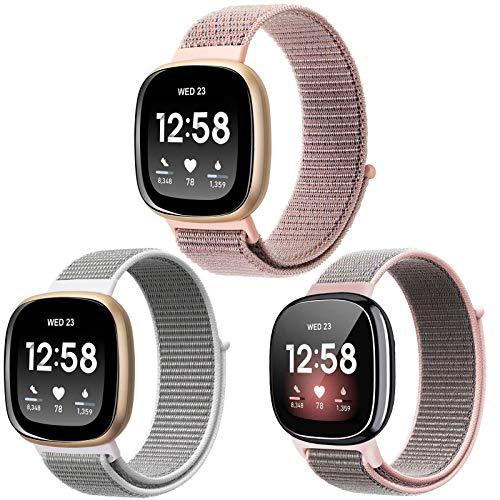 Nigaee Horlogebandje voor Fitbit Versa 3 / Fitbit Sense armband nylon duurzaam reservearmbanden compatibel met Fitbit…
