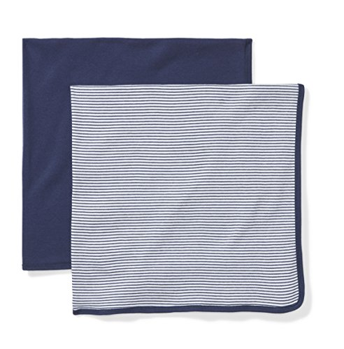 Moon and Back Baby Set of 2 Organic Swaddle Blankets, Navy Sea, One (Blue Receiving Blanket)