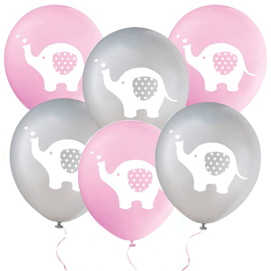 32 Pieces Elephant Party Balloons Birthday Girl Decorations Balloons Pink and Grey Elephant Latex Balloons for Kids Birthday Party Balloons, Baby Shower, Gender Reveal, Animal Themed Party Decorations (Pink & Grey)