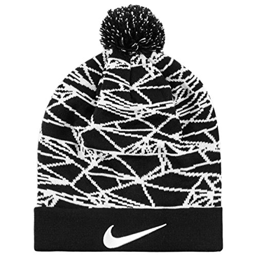 Nike Winterized Pom Beanie Knit Cap, Black/White