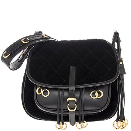 Prada Women's Womenâ€s Corsaire Calf and Velvet Black saddle bag Black