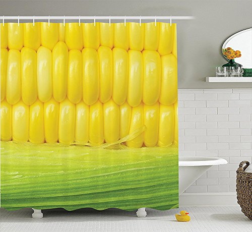 [Yellow Decor Collection Corn Cob Between Green Leaves Delicious Breakfast Natural Meal Vegetable Theme Art Polyester Fabric Bathroom Shower Curtain Set with Hooks Yellow] (Corn On The Cob Dog Costume)