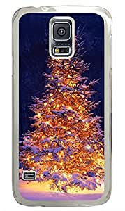 Samsung Galaxy S5 Lit Christmas Tree In Snow PC Custom Samsung Galaxy S5 Case Cover Transparent