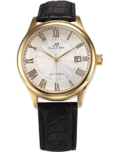 Kronen Soehne Genuine Leather Black Round man mens Analog Date Mechanical Automatic Wrist Watch