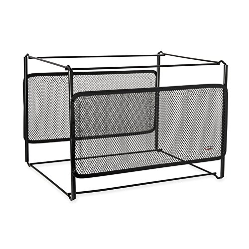 Rolodex Mesh Collection Side-Load Double Tray with Hanging File, Black (22191)