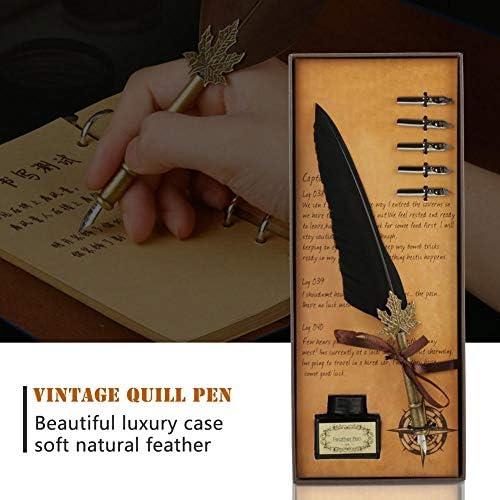 FTVOGUE Quill Pen Vintage Dip Feather Juego de Tintas de Pluma Hechas A Mano para Escribir Caligraf/ía de Semillas de Regalo