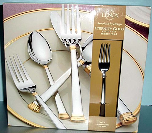 Lenox Eternity Gold 45 Piece Stainless 18/10 Flatware Service for 8 New In - Butter Sugar Master Spoon Knife