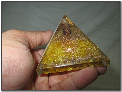 Exquisite A++ Yellow Chakra Orgone Pyramid Crystal Gemsto...