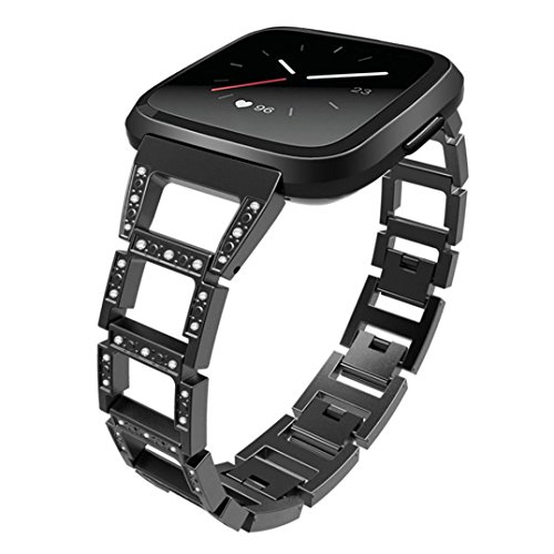 Sonmer Replacement Stainless Steel Crystal Wrist Band For Fitbit Versa (Black) by Sonmer