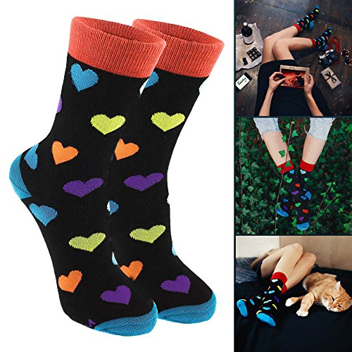 MO-KO-KO Men's & Women's Socks - Luxury Cotton - Funky Cool Crazy Colorful Patterned Fashion Polka Dot Designer Stripe Fun Argyle Dress Socks (6-10, Icy heart (Women's socks))