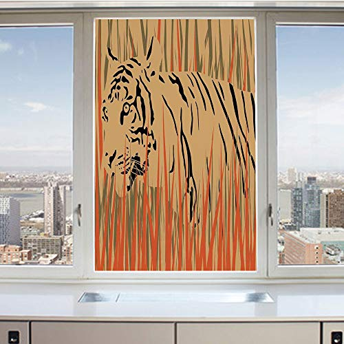 3D Decorative Privacy Window Films,Tiger in the Bushes Camouflage Carnivore Predator Feline Africa Animal Art,No-Glue Self Static Cling Glass film for Home Bedroom Bathroom Kitchen Office 17.5x36 Inch