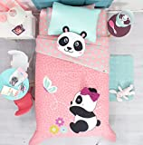 BEST SELLER PANDA BEAR PETS KIDS GIRLS WONDERFUL DESIGN REVERSIBLE COMFORTER SET, EMBROIDERED SHEET SET AND WINDOWS PANELS 10 PCS FULL SIZE
