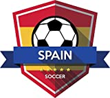 Spain Flag National Soccer Team Emblem Home Decal Vinyl Sticker 13'' X 12''