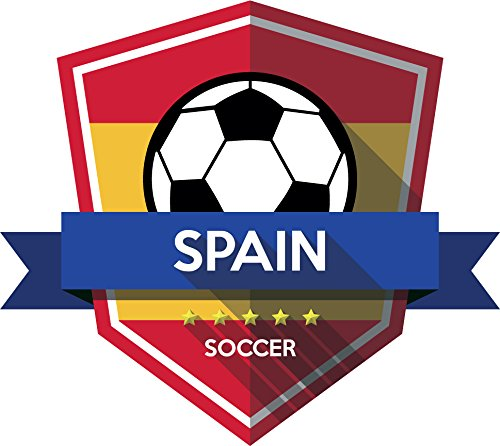 Spain Flag National Soccer Team Emblem Home Decal Vinyl Sticker 13'' X 12'' by innagrom