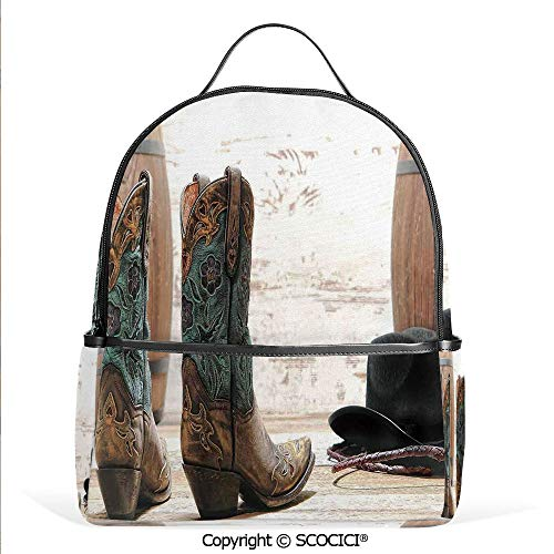 Hot Sale Backpack outdoor travel Cutouts With Black Cowboy Hat Infront of a Rustic Barrel and Background Racing Event,With Water Bottle Pockets