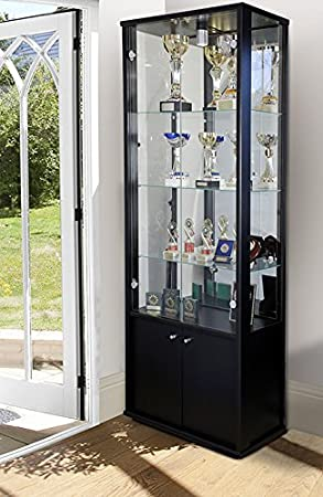 double glass display cabinet with storage