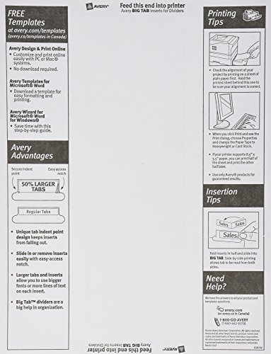 amazon com avery 8 tab binder dividers insertable clear big tabs