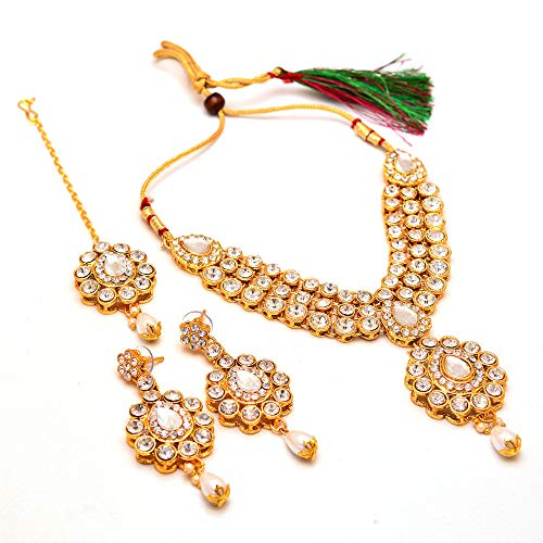 Indian handmade ad stone jewelry rich look AD Gold Plated Necklace Set with teeka tika - Indian Jewelry Handmade