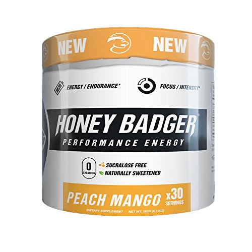 Honey Badger Performance Energy Natural Pre Workout for Men & Women (Peach Mango / 30 Servings / Sucralose Free / Naturally Flavored & Sweetened / CarnoSyn ® Beta Alanine)
