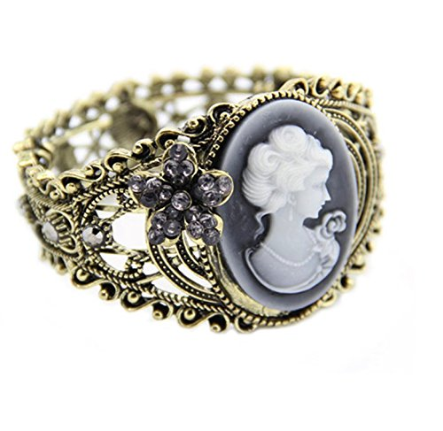 Fashion Trendy Crystal Cameo Cuff Bangle Bracelet For Women / AZBRCFA01-AGB
