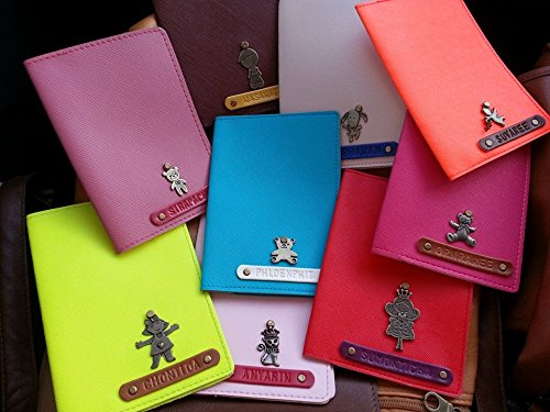 Leather Passport Holder Free Engraved Name & Charms for Men and Women Passport Wallet Luggage