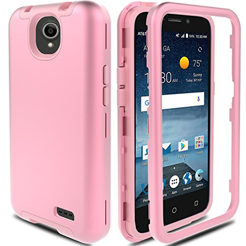 E Overture 3 Case, ZTE Prestige 2/Prelude Plus 4G LTE Case AMENQ Hybrid 3 IN 1 Heavy Duty Shockproof Protection Rugged Rubber Silicone Armor Cover for ZTE Android Phone (Rose Gold) ()
