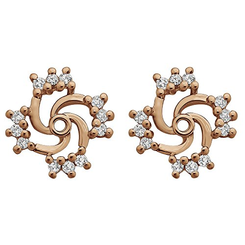 1/5 ct. Forever Brilliant Moissanite by Charles Colvard Moissanite Swirl Earring Jacket in Rose Gold Plated Sterling Silver (0.19 ct. twt.) by TwoBirch