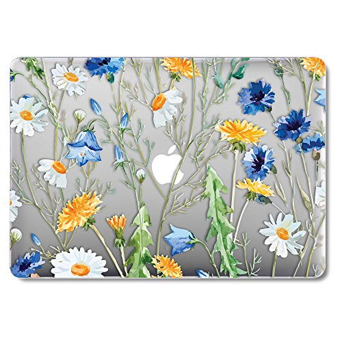 GMYLE Floral Design Clear See-through Case for (Model:A1425 & A1502) Old MacBook Pro 13 inch with Retina Display NO CD-ROM Drive [2012-2015 Release]