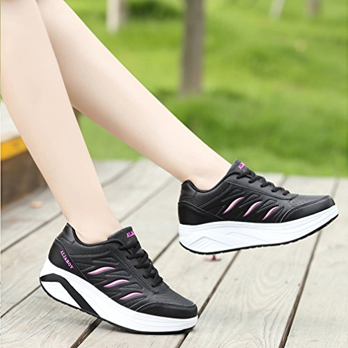 Sneakers 3 Sports Leather amp; Lace Mesh Wedges Walking Black Platform Up Womens Orlancy Shoes RfqOwzq