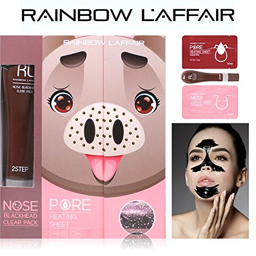 LAffair Rainbow Blackhead Remover Strips: 3-in-1 Kit for Removing Nose Blackheads & Deep Cleaning Pores - 10 Pore Heating Strips, 30 ml Charcoal Peel Off Face Mask & 10 Moisturizing Essence Sheets