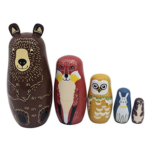 Trkee 5 Layers Nesting Dolls Wood Panda Penguin Bear Girl Dolphin Hand-Painted Russian Doll Matryoshka Toy Home Decor Kid Gift from Trkee